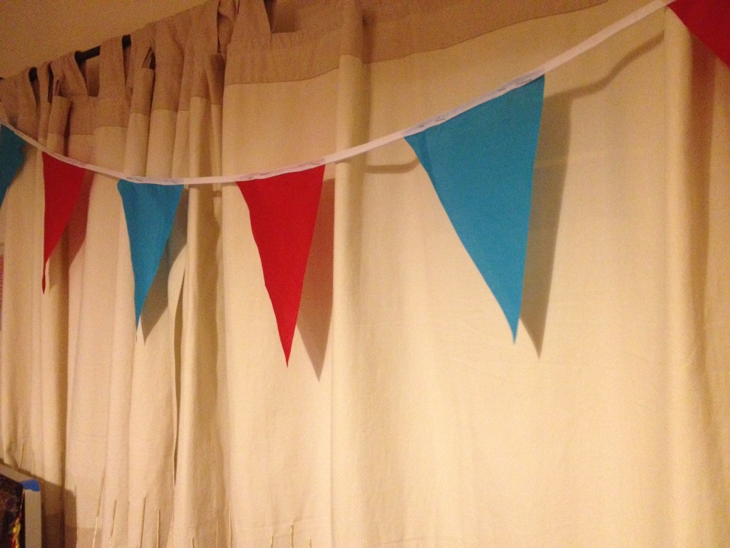 Prototype bunting, held with pins.